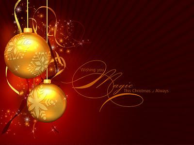 Papel de parede natalino enfeites douradas