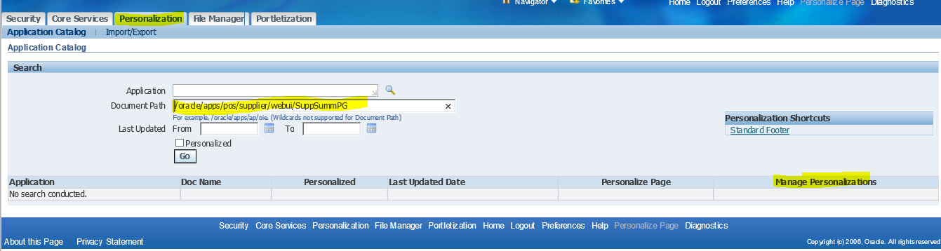 How to Delete and De Activate the OAF Personalization in OAF Pages in Oracle Apps