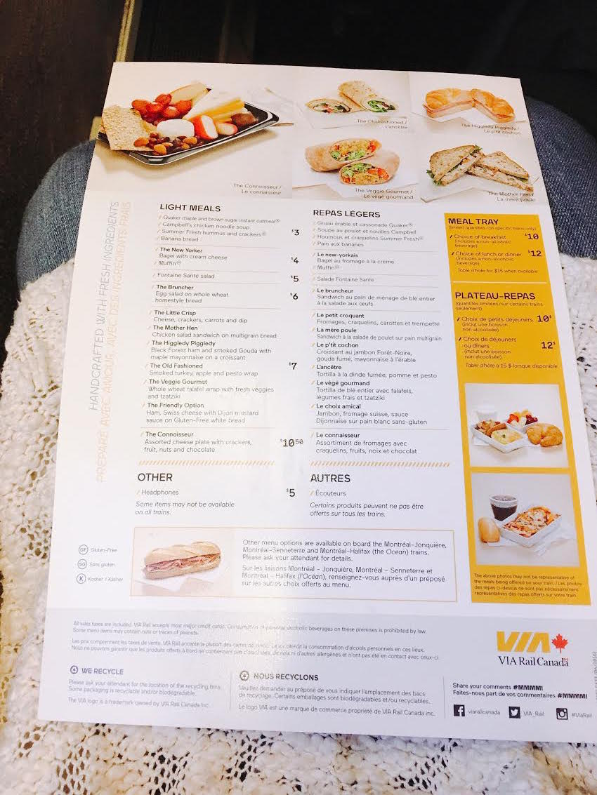 menu on Via Rail Canada