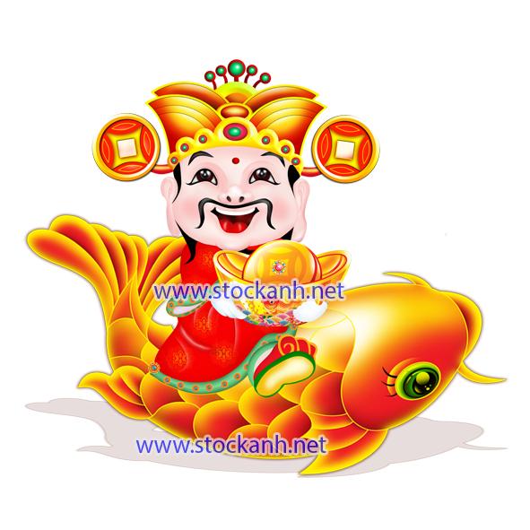 Vector Thần Tài cưỡi cá chép vàng
