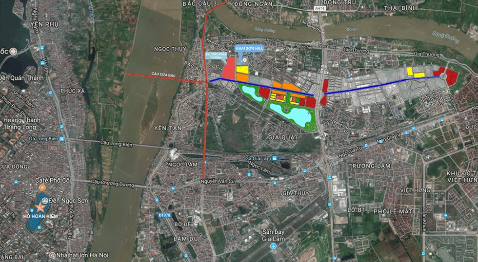 Khu đô thị Khai Sơn và đường 40m từ Đặng Vũ Hỷ đến Ngọc Thụy.