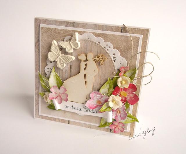 Ślub w różowych kwiatach - kartka