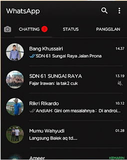 Tampilan Aplikasi Whatsapp Messenger Black Theme
