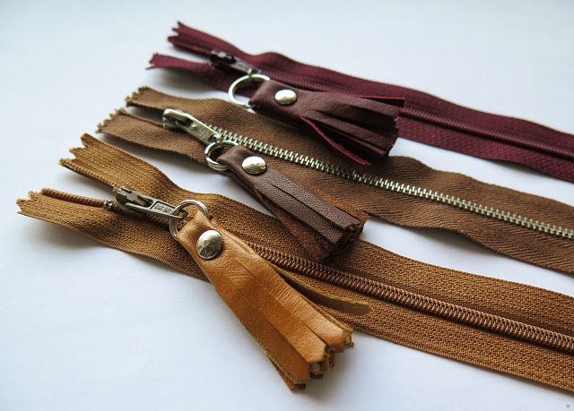 Leather scraps zipper pulls