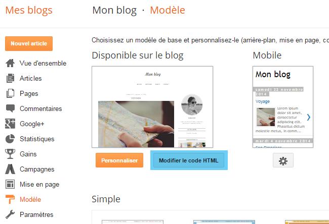 Supprimer le fond et modifier l'apparence des liens de navigation sur Blogger