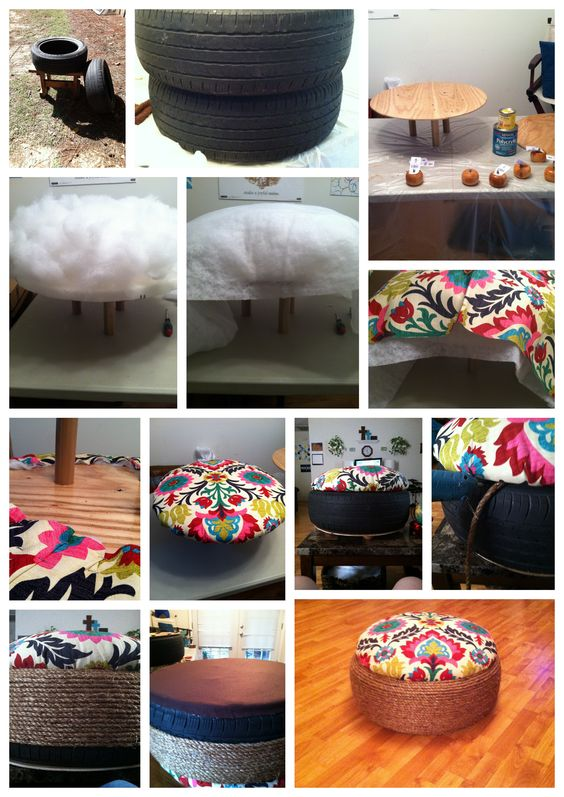 Awesome diy projects inspirational ideas how to recycle old tire to beautiful diy ottomans - Diy projects using old tires ...