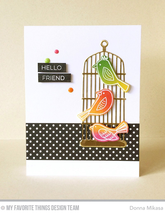 Handmade card from Donna Mikasa featuring Label Maker Love stamp set, Tweet Friends stamp set and Die-namics, and Cheerful Cages Die-namics #mftstamps