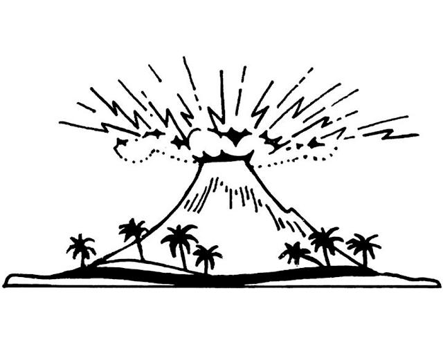 Gambar Mewarnai Gunung Merapi - 2