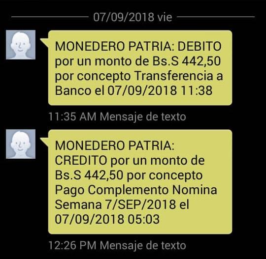 """Mensaje que te llegará al recibir el """"subsidio salarial"""" a través del Carnet de la Patria"""