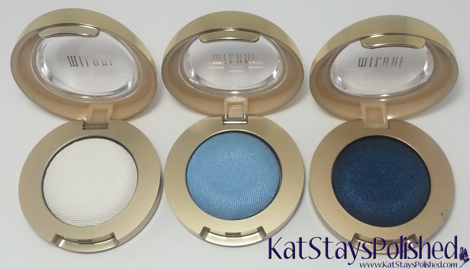 Milani Bella Eyes Gel Powder Eye Shadow - White - Sky - Navy | Kat Stays Polished