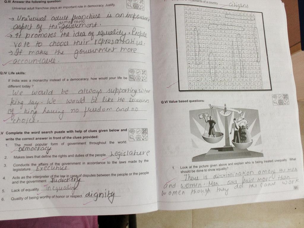 pis vadodara std 7 civics ch democracy and equality workbook