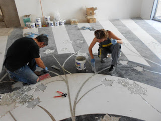 waterjet, marble and silver mosaic loby