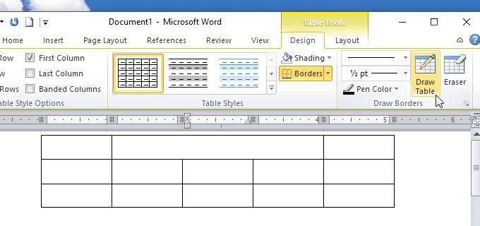 cách gộp ô trong bảng bằng công cụ Eraser trong Word