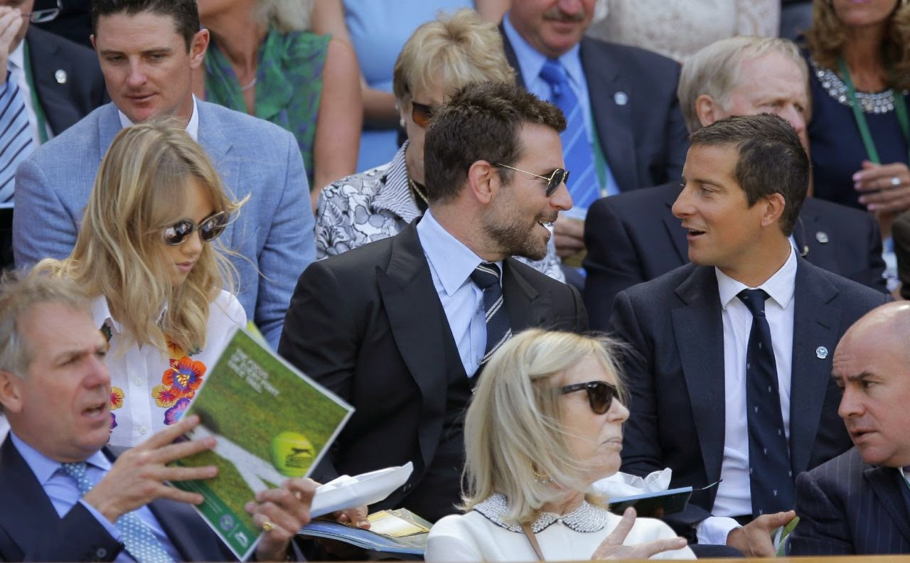 Suki Waterhouse and Bradley Cooper watch the 2014 Wimbledon Men's Semi-Finals
