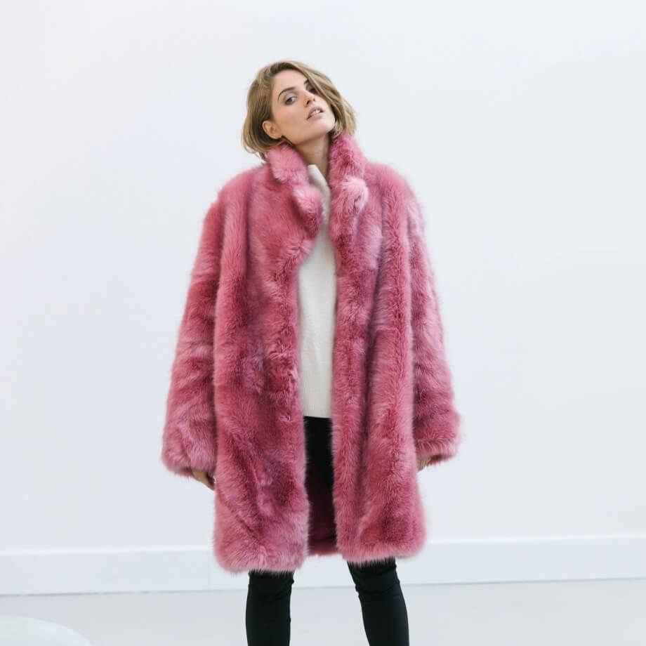 Oversized pink faux fur coat