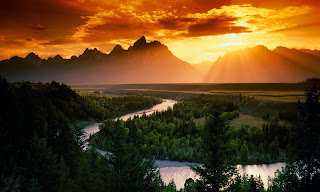 Beautiful Sunset Mountains 3D HD Wallpaper at freewallpaper01