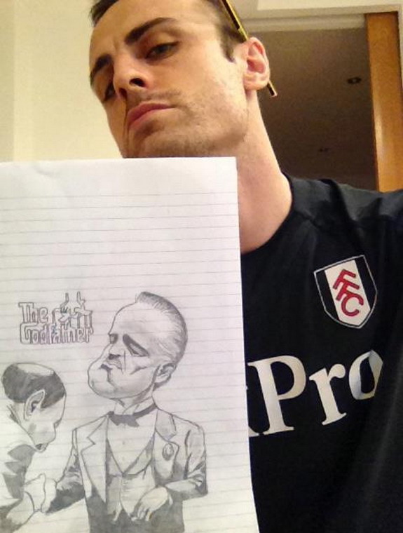 Dimitar Berbatov's drawing caricatures of 'The Godfather'