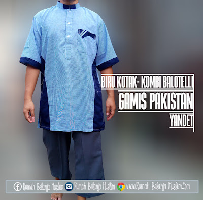 Gamis Pakistan Kotak Biru Kombi Balotelli Katun Yandet