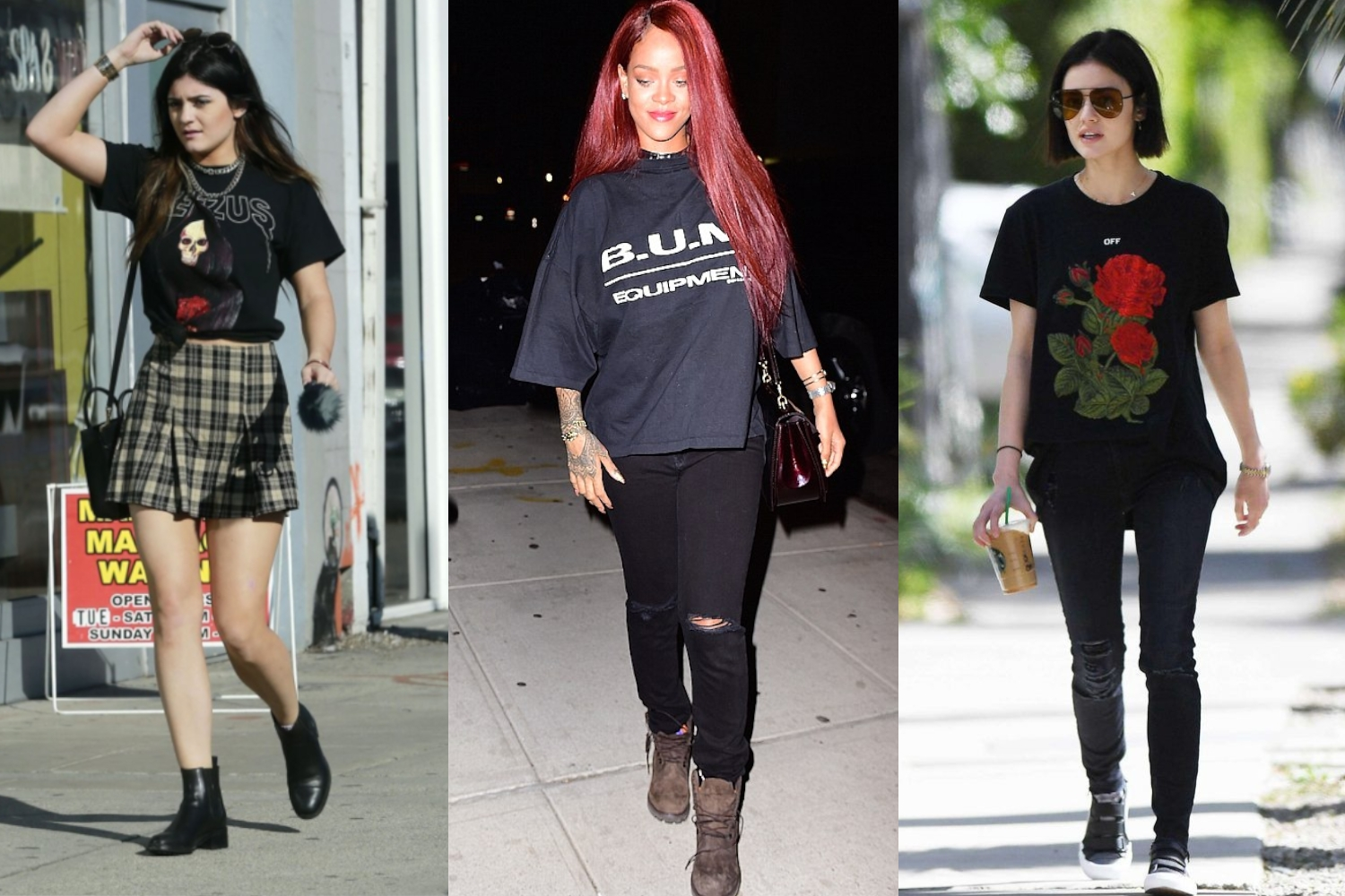 Kylie Jenner, Rihanna & Lucy Hale wearing grunge 90s outfits