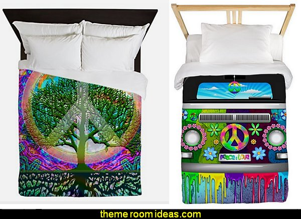 HIPPIE BEDDING Groovy Funky Retro Bedroom Pictures - 60s style theme decorating -  70s theme decorating - Funky Flower Power Bedrooms - 70's Theme Decor - 70s theme bedroom decorating - Psychedelic  Tie Dye Hippie Hippy style flower power era