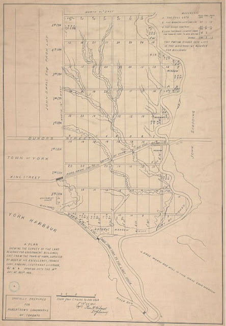 1811 Wilmot Survey of the land reserved for government buildings, east of the town of York