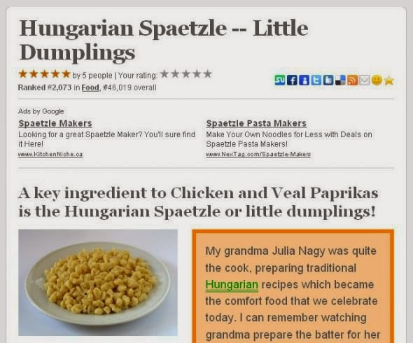 Hungarian Spaetzle squidoo lens published august 31 2009