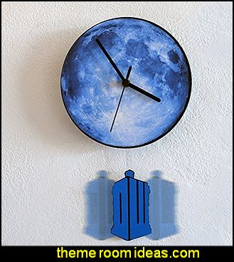 Tardis Swinging on the Moon - Pendulum Wall Clock  Doctor Who bedroom - Doctor Who themed bedroom ideas - decorating Doctor Who theme -  Doctor Who decor - Doctor Who Bedding - dr who bedroom ideas - Dr Who Tardis - doctor who