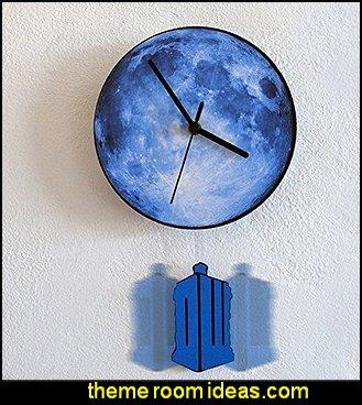 Tardis Swinging on the Moon - Pendulum Wall Clock  Doctor Who bedroom - Doctor Who themed bedroom ideas - decorating Doctor Who theme -  Doctor Who decor - Doctor Who Bedding - dr who bedroom ideas - Dr Who Tardis - doctor who