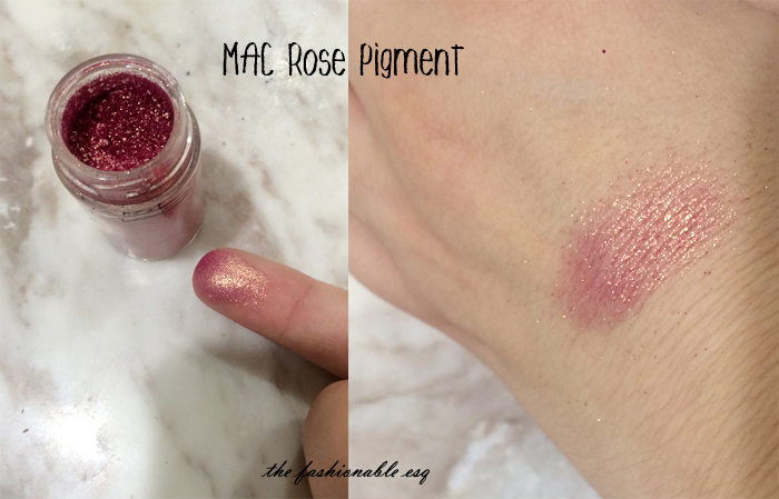 MAC Rose Pigment swatches