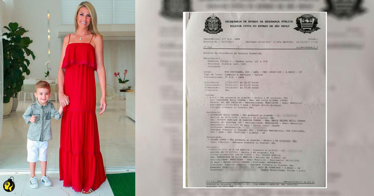 Ana Hickmann presta queixa de injúria sofrida por filho de 3 anos