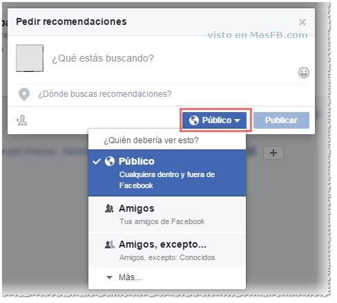 Pedir recomendaciones en Facebook - MasFB