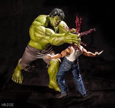 """Hulk le aplasta la cabeza a Wolverine """"figuras de acción"""""""