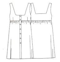 esquema patrón vestido abotonado costura frunce canesú