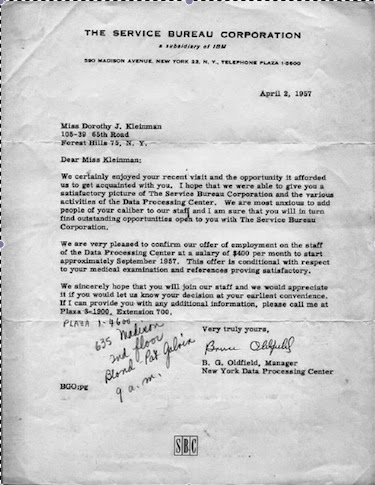 Cousin Lucys Spoon My postcollege job offer letter 1957