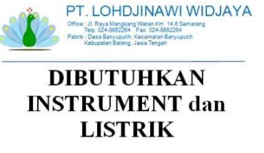 Lowongan Kerja Instrument Listrik PT Lohdjinawi Widjaya