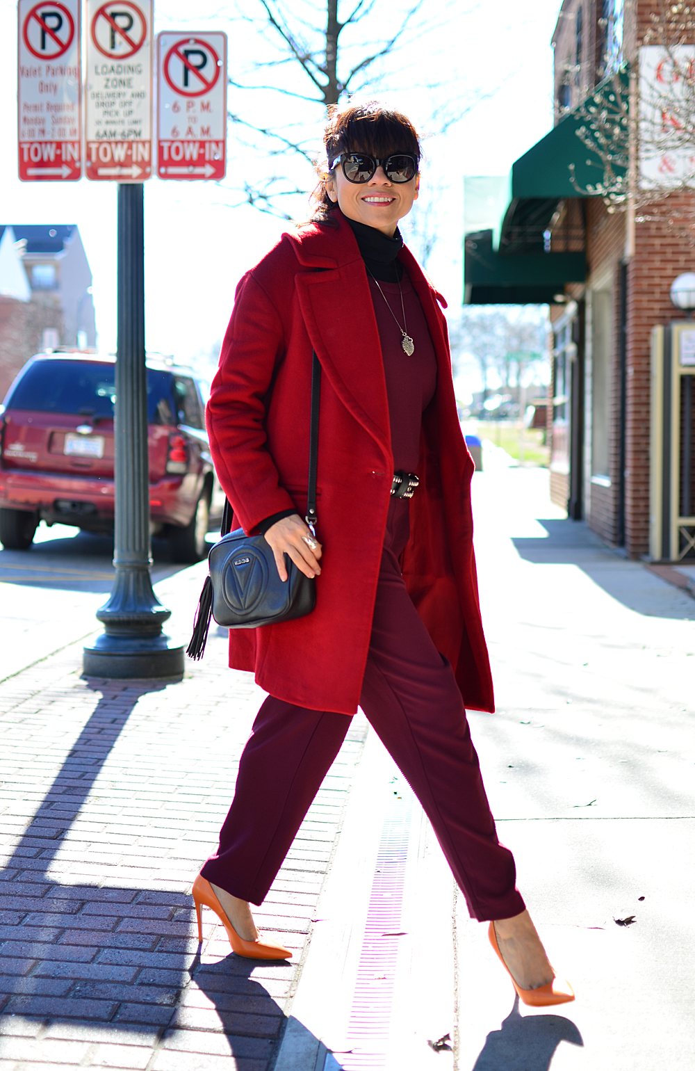 Red jumpsuit street style
