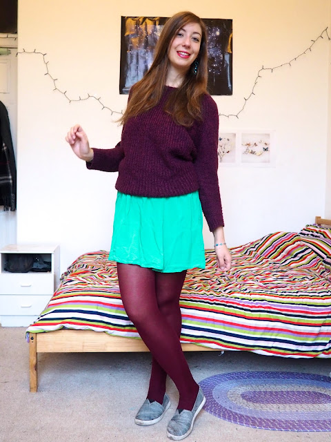 Ariel Disneybound outfit from The Little Mermaid - purple wooly jumper, green skirt & burgundy tights
