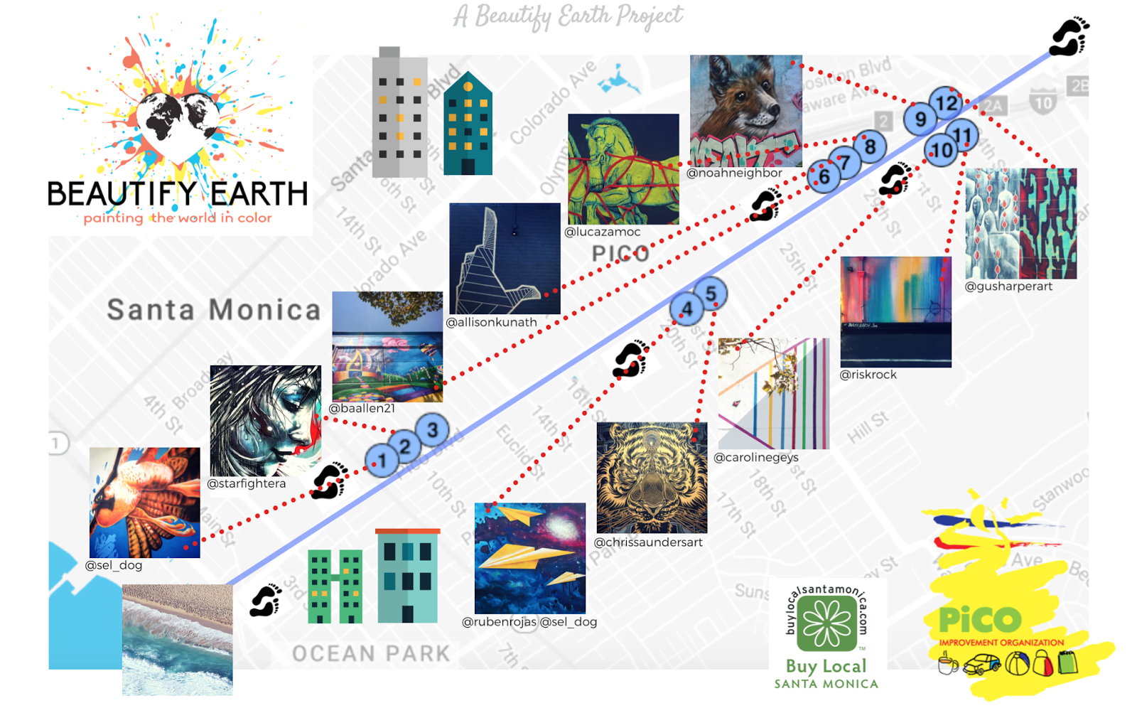 santa monica s pico improvement organization and beautify earth have shared this map of their walking tour of murals up and down the santa monica stretch of