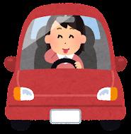 運転している女性のイラスト(照れる)