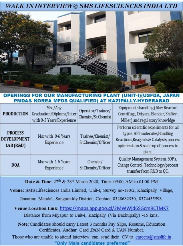SMS Life Sciences Walk in Drive - Production/ DQA On 27th & 28th March 2020 @Hyderabad