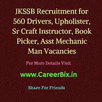 JKSSB Recruitment for 560 Drivers, Upholister, Sr Craft Instructor, Book Picker, Asst Mechanic Man Vacancies