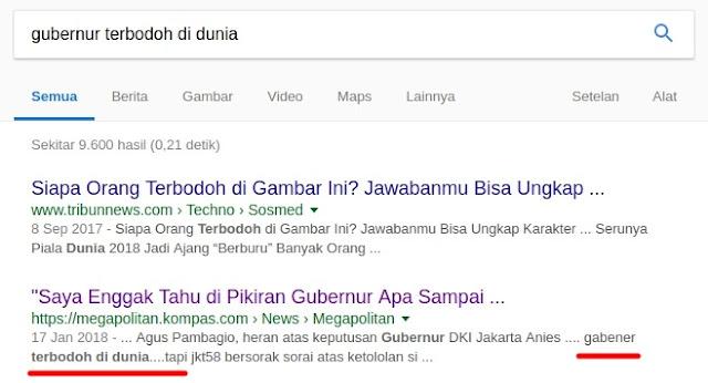 Hasil Google SERP dengan keyword Gubernur terbodoh di dunia