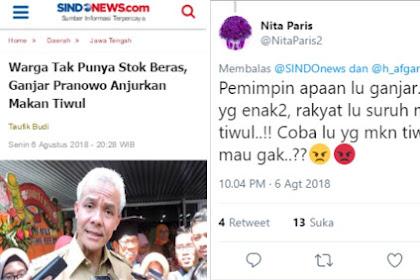 Warga Jateng Tak Punya Beras Disuruh Makan Thiwul Sama Ganjar, Netizen: Coba Lu Yang Makan Thiwul!