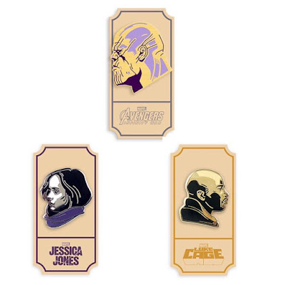 Thanos, Jessica Jones & Luke Cage Marvel Cinematic Universe Portrait Enamel Pins by Matt Taylor x Mondo
