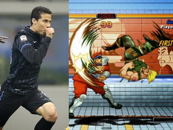 Inter Milan vs. Rome: Hernanes celebrates goal with cutter Guile