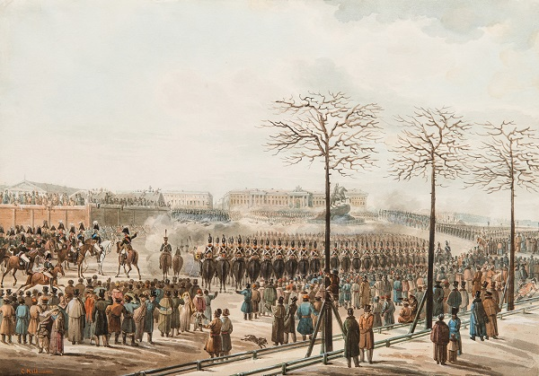 Karl Ivanovich Kolman (1786-1846) - The uprising on the Senate Square in the St. Petersburg on December 14, 1825 - 1830s | State Historical Museum collection | watercolors, artworks, art pictures | iconoCero