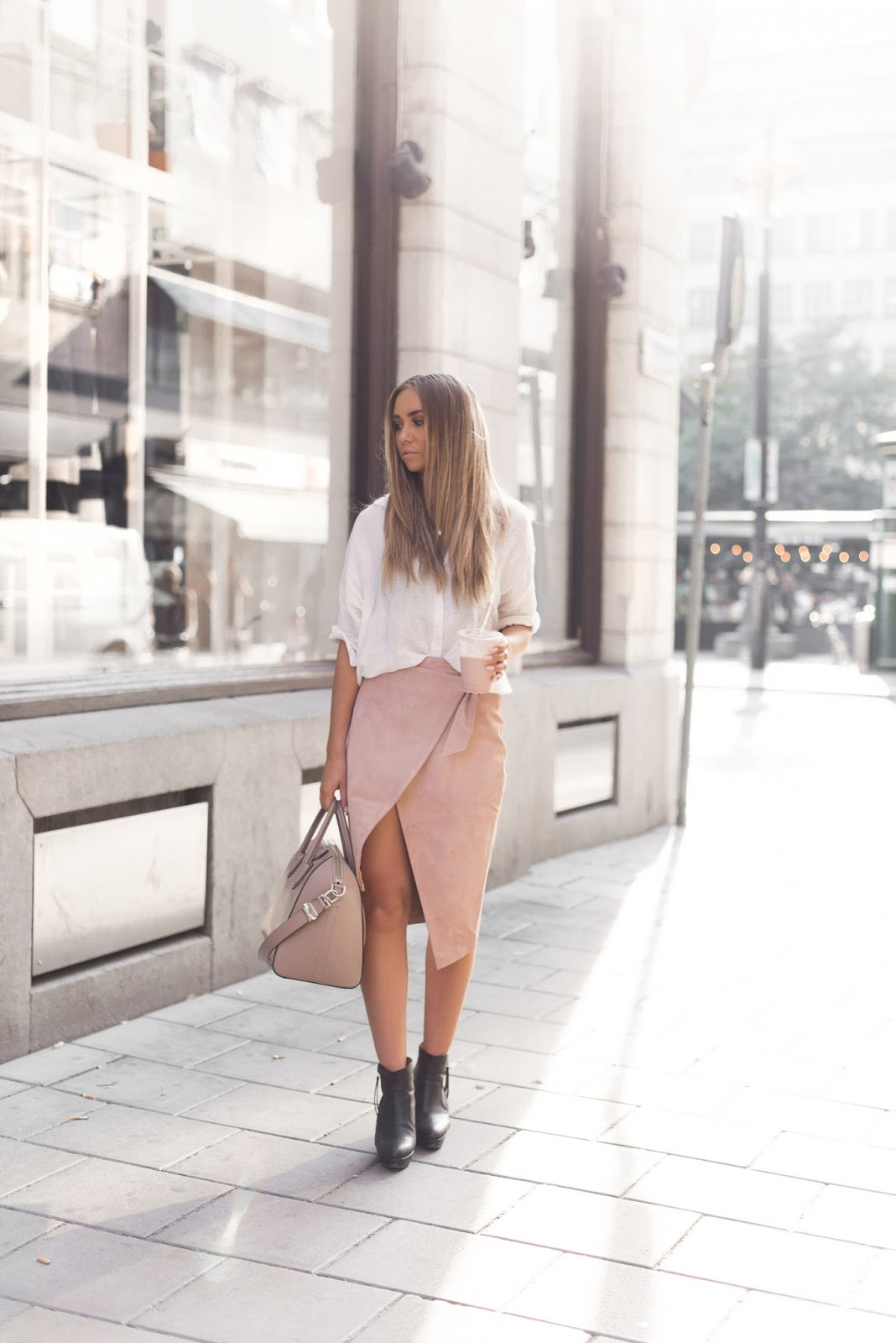 lisa olsson - Asos blush pink suede skirt