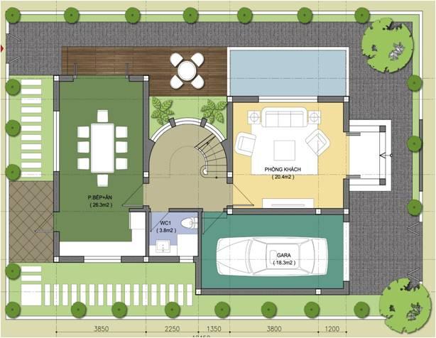 Mặt bằng thiết kế tầng 1, biệt thự Embassy garden theo mẫu số 2