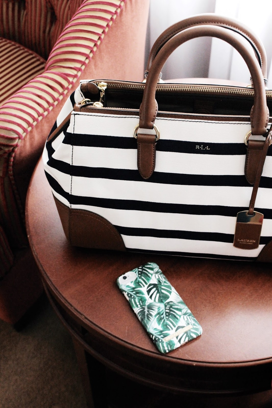 Ralph Lauren Blue Tan White Striped Tote Bag