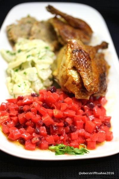 Tauben, Mairübchen, Kartoffel, Rote Bete